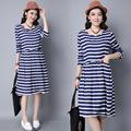 Free Shipping Maternity Clothes Striped Long - Sleeved Loose Large Size Retro Dress for Pregnancy Women Vestidos YFQ031