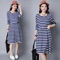 O envio gratuito de roupas de maternidade listrado longo-manga solta tamanho grande retro dress para as mulheres na gravidez vestidos yfq031