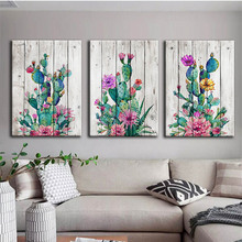 Cactus Flowers Wall Art Canvas Painting Desert Plant Nordic Poster Green Plants Pictures For Living Room Decor Unframed