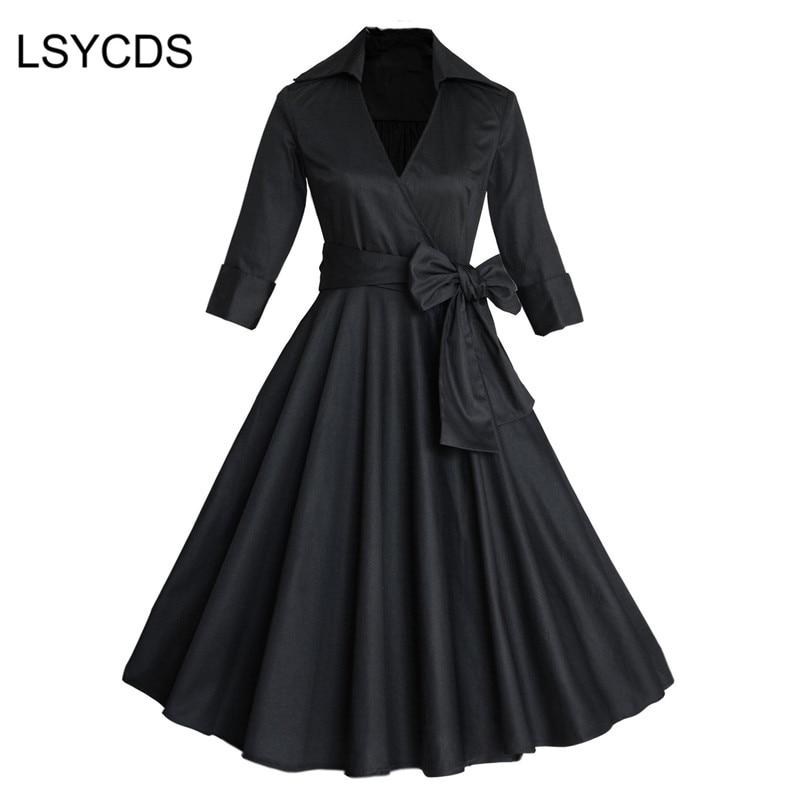 Femmes d'été élégant ceinturé col en v robe de bal porter à soirée soirée décontracté robes Vintage