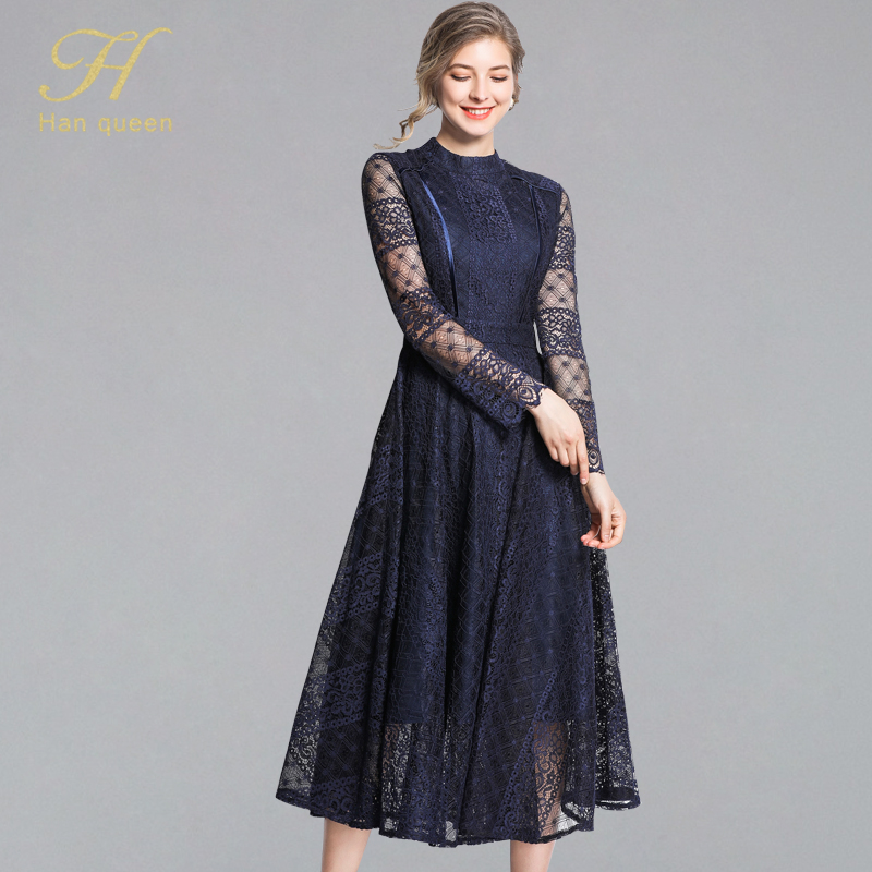 Orderly H Han Queen Sexy Elegant Lace Patchwork A-line Dress Women 2019 Spring Stand Collar Casual Dresses Black Wear To Work Vestidos Long Performance Life Dresses