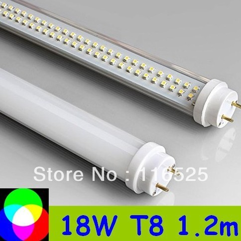 10pcs/lot T8 LED Tube 1200mm Light 18W SMD288pcs Warm White/Cool White 1800lm PC Cover Free shipping