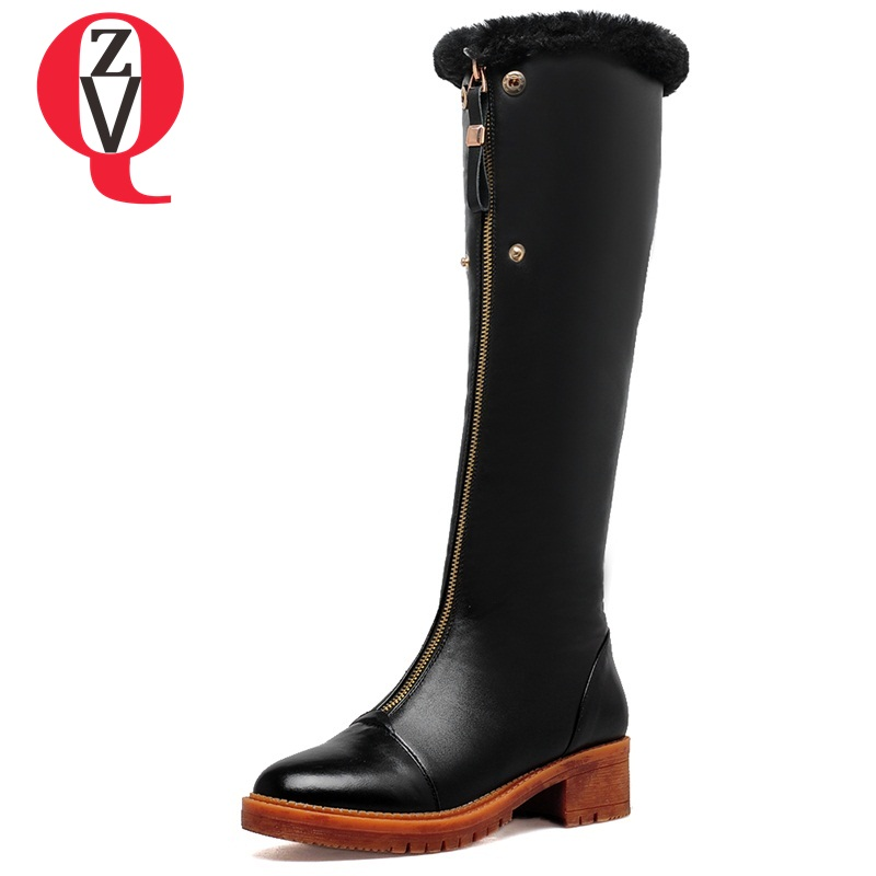 ZVQ winter knee high boots woman mid heel round toe ladies warm shoes real fur genuine leather foot upper women boots heels winter female woman round high engraving heel mid high rhinestone crystal buckle black real leather boots pointed toe shoe 1118