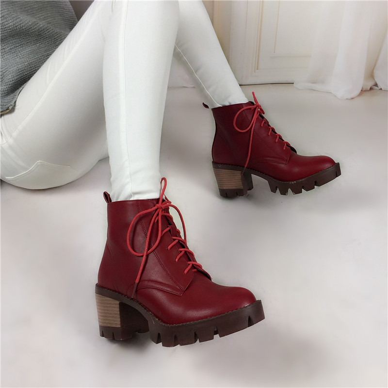 plus size 34-43 Hot Sale Platform Martin Boots Women Square High Heels Shoes Lace Up Ankle Boots Casual Fashion motorcycle boots купить
