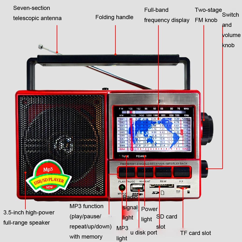 Buy Jinserta Fm Am Sw World Band Radio Receiver Mp3 One Chip E2797 9