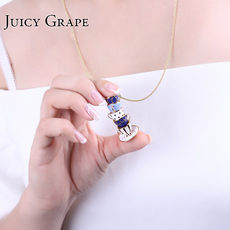 Image 4 - Juicy Grape Hand Painted Enamel Necklace Jewelry Teacup Pendant Long Chain Choker Necklace Bijoux Femme Bijuteria Women-in Pendant Necklaces from Jewelry & Accessories