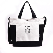 Solid Canvas Shoulder Bags 2019 New  Environmental Shopping Bag Letter Women Cotton Fabric Eco Tote Bolso Mujer