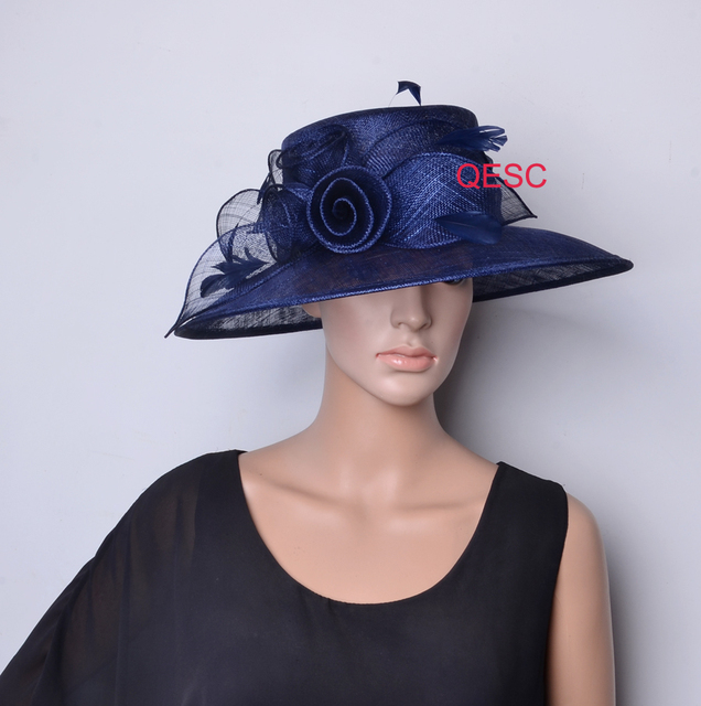 adaafeb8f42 ... denmark navy blue new arrival big brim formal dress church sinamay hat  for kentucky derby ascot
