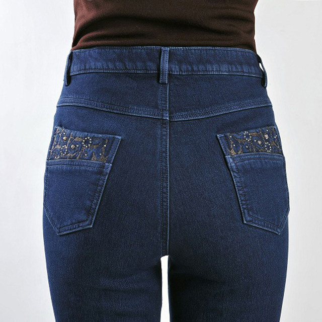 add185304c4 Brand Designer Elegant Women Jeans Straight Jeans Woman American Apparel Jeans  Plus Size 40 Blue Color Women Stretch Jeans S692