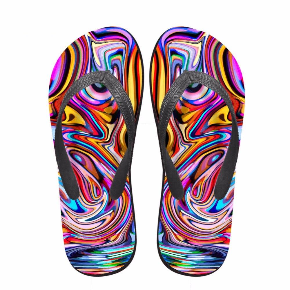 Noisydesigns qız terlikləri 3D rəngli çap qadınlar flip flops - Qadın ayaqqabıları - Fotoqrafiya 3