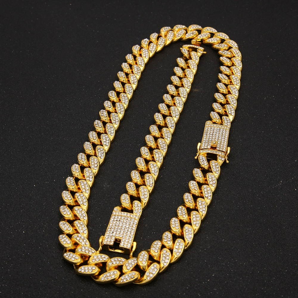 shop 2cm HipHop Gold Color Iced Out Crystal Miami Cuban Chain with crypto, pay with bitcoin