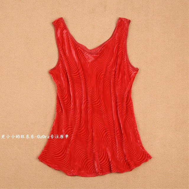 Street fashion fabric mulberry silk pure silk burnt out velvet flock printing red solid color spaghetti strap small vest