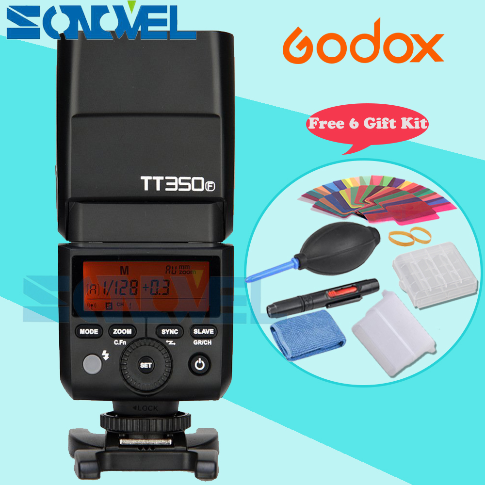 In the Stock Godox Mini Thinklite TTL TT350F Camera Flash High Speed 1/8000s GN36 For Fuji Digital Camera with 6 Gift Kit godox mini thinklite i ttl tt350n camera flash high speed 1 8000s gn36 for nikon digital camera