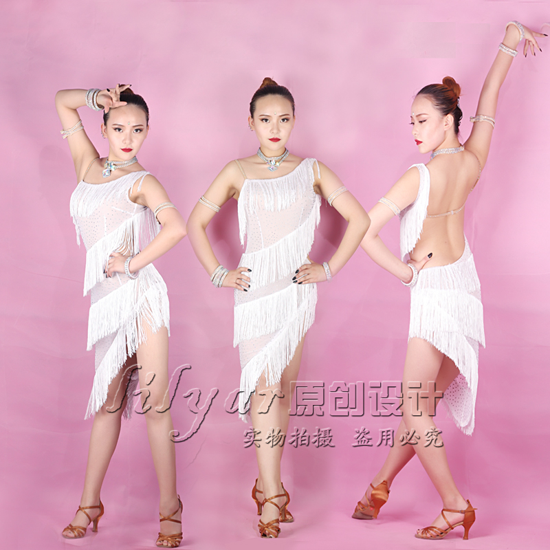 Latin Dance Dresses For Women White Fringe Dress Women Stage Tango Ballroom Salsa CompeteCostumes Latin Dance Dress BL1147