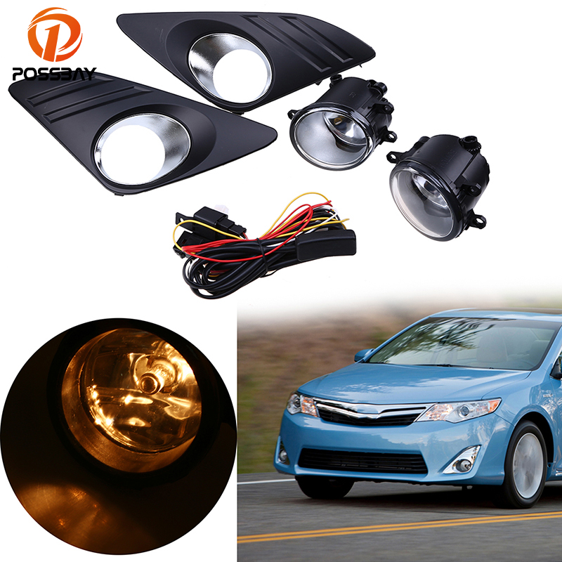 POSSBAY Front Lower Bumper H11 Halogen Fog Light Lamp+Grille Cover Wiring Kit 1 Set For Toyota Camry (XV50)LE/XLE 2012-2014 for opel astra h gtc 2005 15 h11 wiring harness sockets wire connector switch 2 fog lights drl front bumper 5d lens led lamp