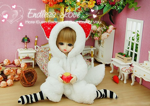Cute Little Fox Pajamas Animal Outfit For BJD YOSD 1/6 Doll Clothes AL12 leisure sweater strap shorts white shirt 3 pcs cute suit for bjd 1 6 yosd luts dod as doll clothes cm84