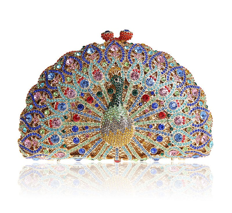 BL014 Luxury Crystal Evening Bag Peacock Clutch diamond party purse pochette soiree Women evening handbag wedding clutch bag women custom name crystal big diamond clutch women evening clutch bag 1020bg