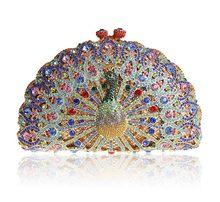 3b382c669ad7 BL014 Luxury Crystal Evening Bag Peacock Clutch diamond party purse  pochette soiree Women evening handbag wedding