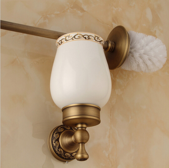 New Arrivals Antique Brass Toilet Brush Holder bathroom accessories High-end Wall Mounted Cleaning Brush high end carving wall mounted toilet cleaning brush brass toilet brush holder free shipping wholesale and retail fe 8610