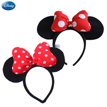 Original Disney Mickey Minnie Mouse Headdress Headwear Hair Hand Accessories Kawaii Plush Toys Birthday Gift For Children Girl