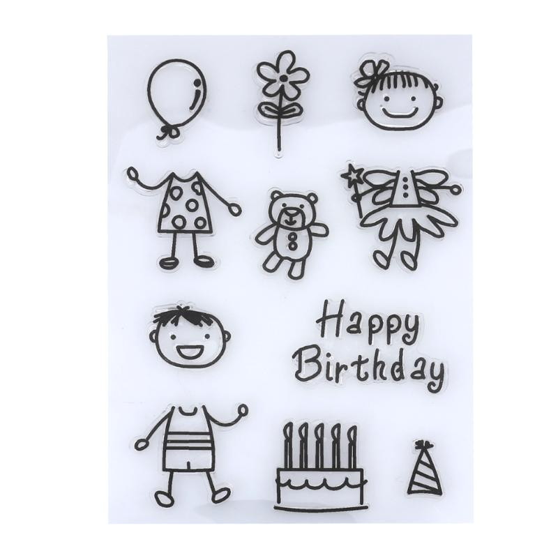 Black Cartoon Happy Birthday Clear Stamps for Scrapbooking DIY Album Diary Silicone Stamps Decorative Stamp Seal for Paper Craft lovely animals and ballon design transparent clear silicone stamp for diy scrapbooking photo album clear stamp cl 278
