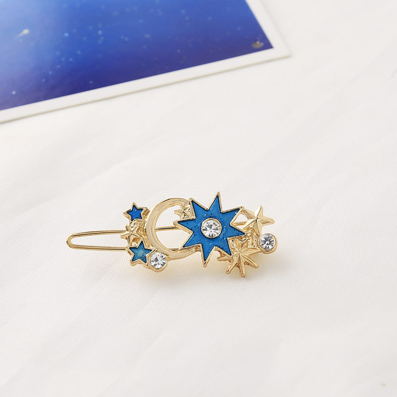 New Hot Fashion Gold Stars Shining Rhinestone Boho Moon Exquisite Statement Blue Hair Clips Hairwear For Womens Jewelry