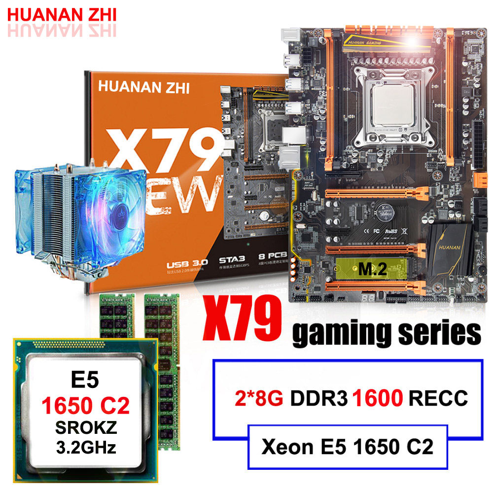 Matériel informatique DIY HUANAN ZHI Deluxe X79 carte mère M.2 CPU Intel Xeon E5 1650 C2 3.2 ghz avec cooler RAM 16g (2*8g) REG ECC