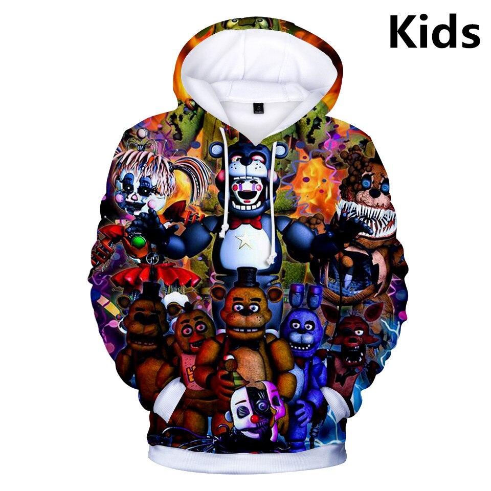 2 To 13 Years Kids Hoodies FNAF 3d Printed Boys Girls Hoodie Five Nights At Freddy's Cartoon Sweatshirt Casual Children Clothes