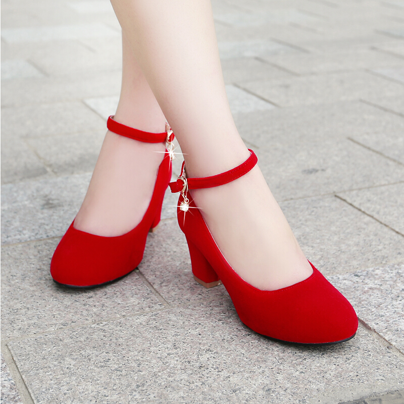 Women Red Black Small Big Plus Size 32 42 43 Heels Bridal Wedding Shoes Ladies Medium Thick Heel Female Pumps Single In Womens From
