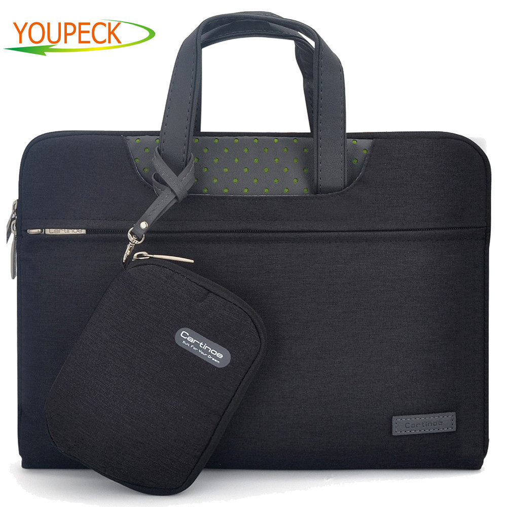 Business Laptop Bag 11 12 13 14 15 15.6 inch Computer Sleeve bag For Macbook Air Pro 13 15 Bags men women handbag + Small Pouch
