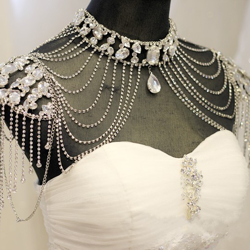 Hanmade Wedding Bridal Crystal Rhinestone Silver Shoulder Chain Necklace Collar