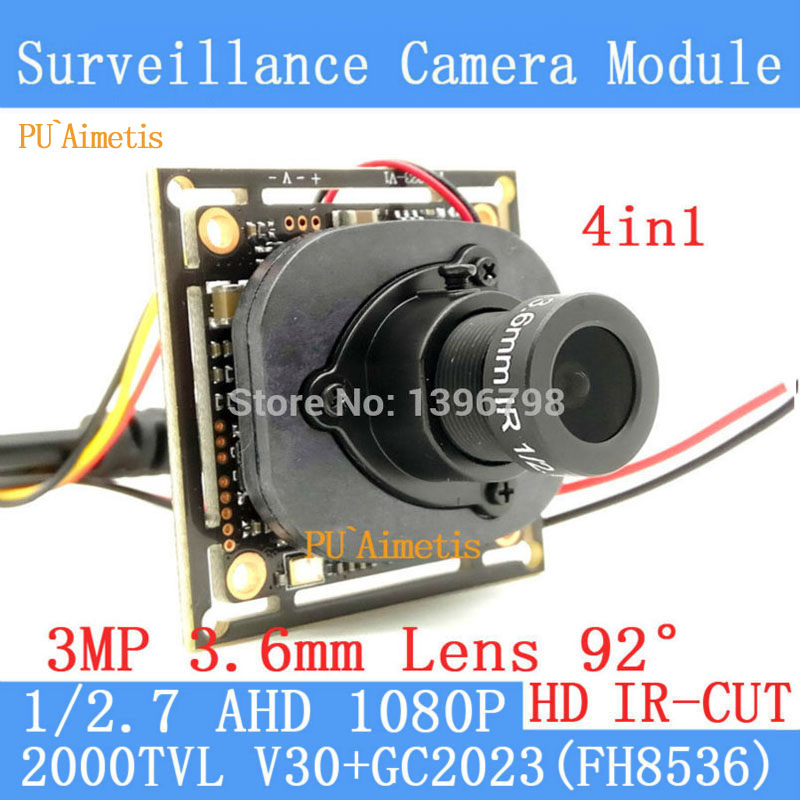 PU`Aimetis 2MP 1920*1080 AHD CCTV 1080P mini night vision Camera Module 1/2.7 2000TVL 3MP 3.6mm 92 degrees surveillance camera