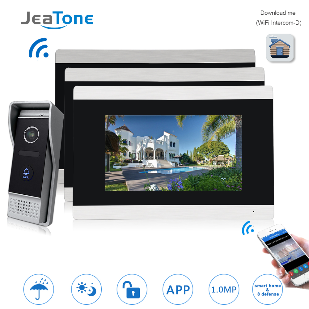 7'' Touch Screen Wireless WIFI IP Video Door Phone Intercom Video Doorbell Villa Access Control System Motion Detection 1 To 3