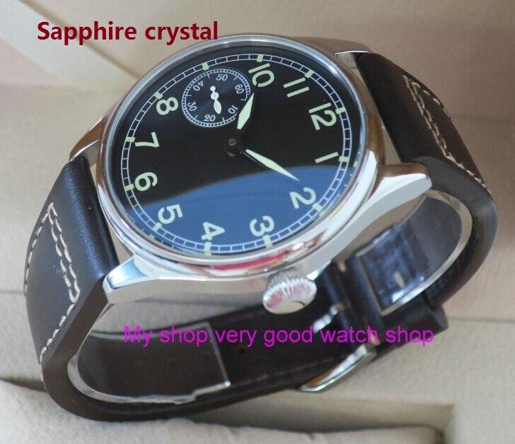 Sapphire Crystal 44mm PARNIS Asian 6497 / ST3600 gooseneck Mechanical Hand Wind Luminous men's watch Mechanical watches FXY09 sapphire