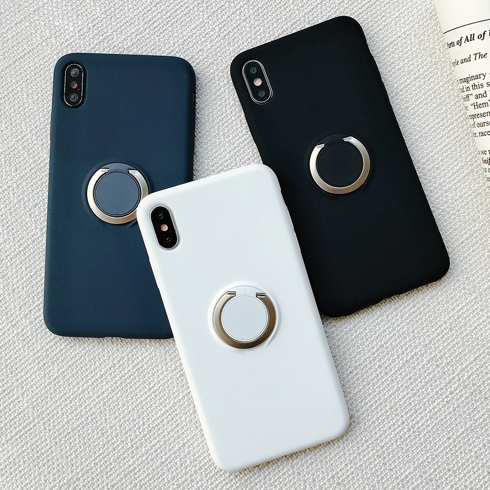 KIPX1110_10_JONSNOW Pure Color Phone Case for iPhone XS XR XS Max 6 6S 7 8 Plus Matte Soft TPU Solid Cover with Ring Holder Capa Fundas