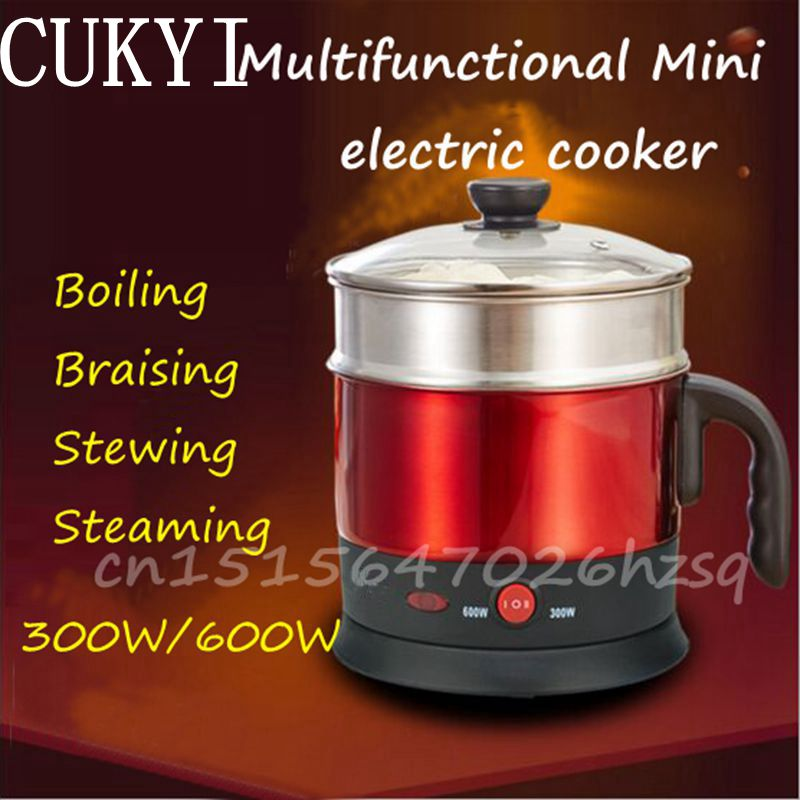 CUKYI  300W/600W Mini Miniwatt Single/Double Layer 1.2L Electric cooker Multifunctional cooker Houeshold Dormitory cukyi double layer multi function electric egg cooker boiler stainless steel automatic power off mini