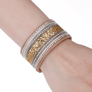 Leather Wrap Crystal Bracelet on female wrist for shop