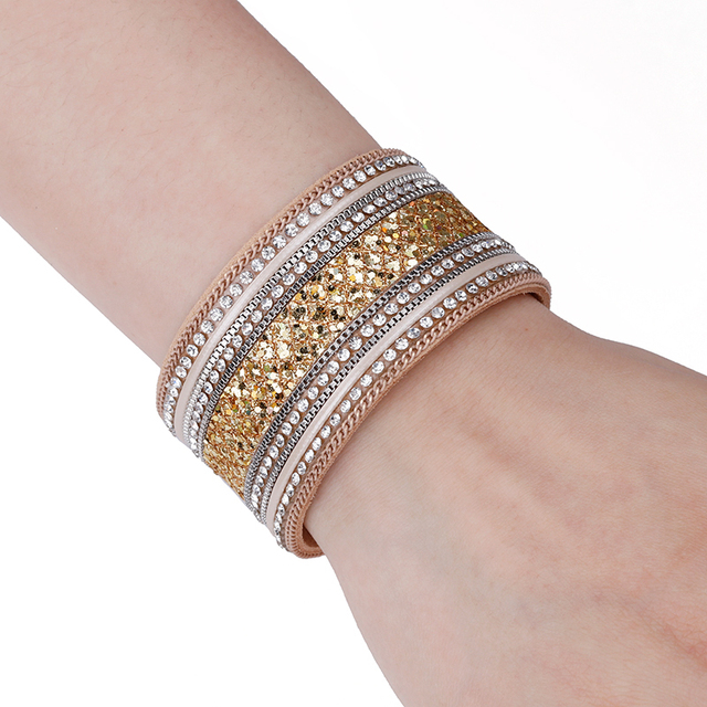 Leather Wrap Crystal Bracelet on female wrist for shop