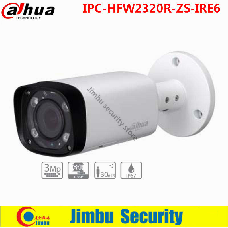 Original Dahua 3Mp IR Bullet Network Camera card slot up to 128GB 2.7~12mm varifocal lens IR 60m IP67 PoE  IPC-HFW2320R-ZS-IRE6 dahua motorized lens 2 7mm to 12mm ip camera ipc hfw2320r zs 3mp poe cctv ip camera ir 30m day night vision security ip camera