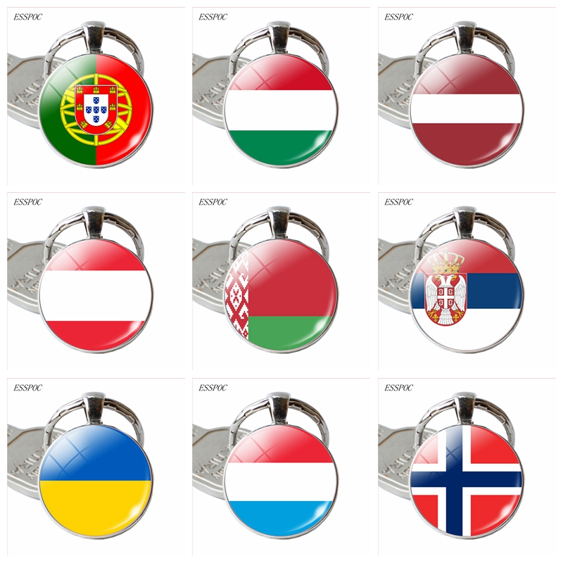 Europe Country Flag Keychain Austria Ukraine Norway Hungary Latvia Luxembourg Belarus Flag Key Chain Key Rings Flag Pendant
