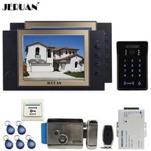 "JERUAN wired 8"" video door phone Record intercom system 2 monito kit New RFID waterproof Touch Key password keypad Camera 8G SD"