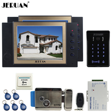 "JERUAN wired 8"" video door phone Record intercom system 2 monito kit New RFID waterproof Touch Key password keypad Camera 8G SD"
