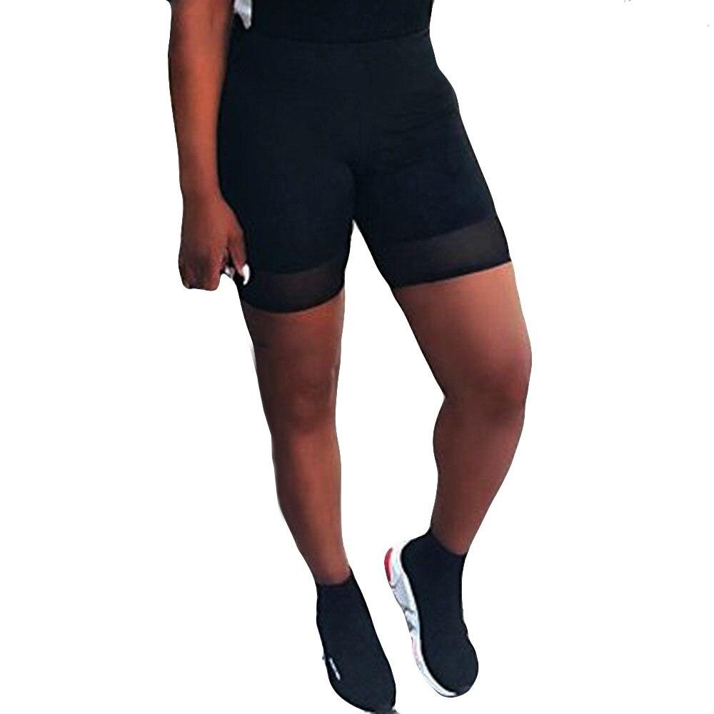 Women Plus Size High Elasticity Waist Spliced Grenadine   Shorts   Gym Active Black Trousers New Fashion Sweatpants For Ladies 2019