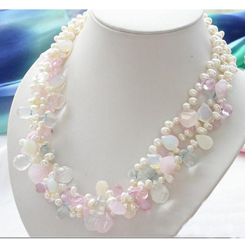 Fashion Women Pearl Jewellery,3 Rows 18'' White Color Freshwater Pearl Pink Crystal Opal Drip Necklace,New Free Shipping