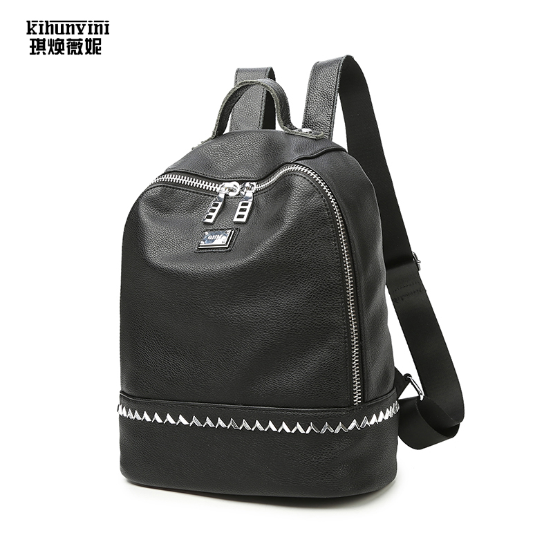 Women Fashion Backpack Cow Leather Trim High Quality Back Pack Female Double Shoulders Bag Travel Backpacks for Teenager Girls fashion lady design backpack canvas leisure bags school bag women backpacks teenager girls high quality female travel back packs