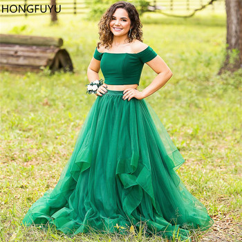 HONGFUYU 2020 Robe De Soiree Long Prom Dresses Green Tulle Two Pieces Off the Shoulder Women Evening Party Dress Full Length