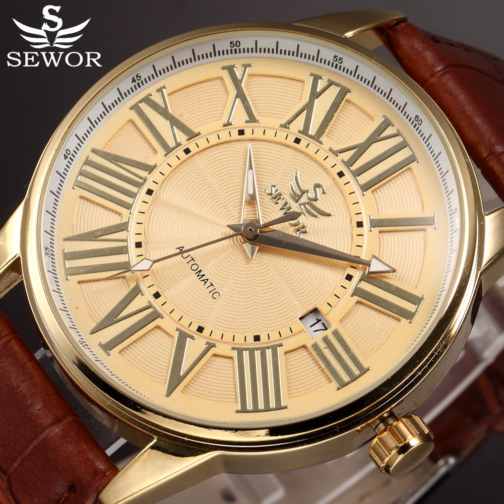 цена на Luxury SEWOR Brand Mechanical Watch Men Brown Leather Male Clock Mens Automatic Watches Relogio Masculino Auto Date Gold