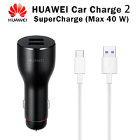 Original HUAWEI SuperCharge Car Charger 2 Super Charge Quick Adapter Max 40w 5A Type c Cable Type C Huawei Mate 20 Pro Mate20 RS