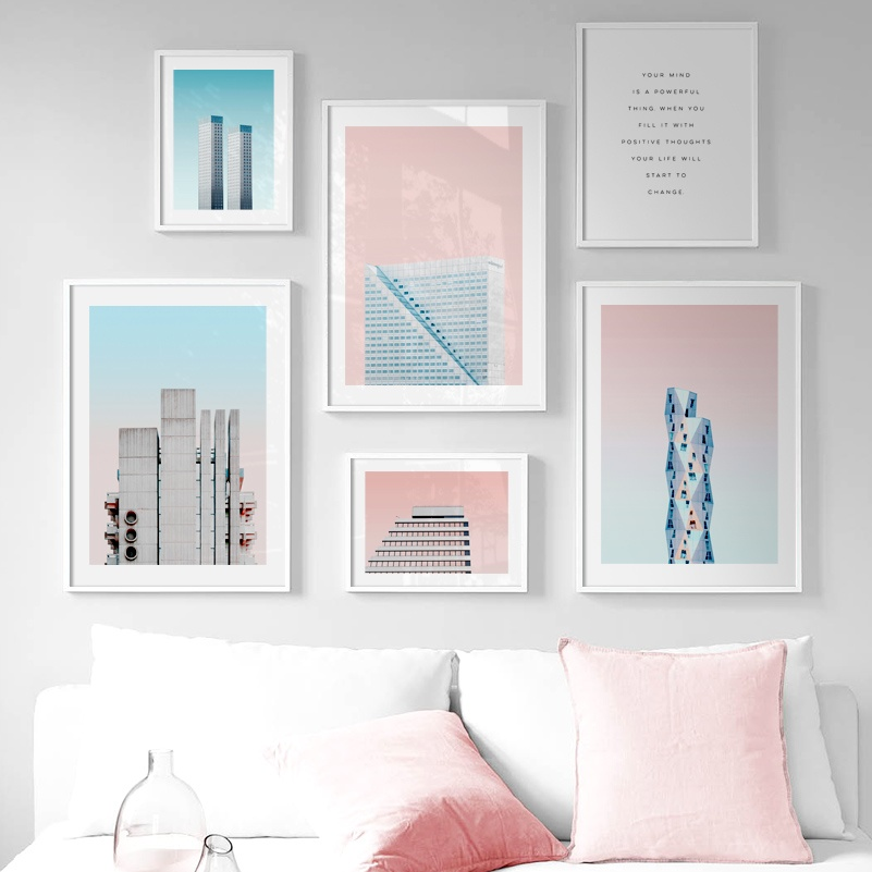 City Landmark building Landscape Quotes Nordic Posters And Prints Wall Art Canvas Painting Wall Picture For Living Room Decor in Painting Calligraphy from Home Garden