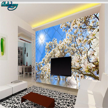 beibehang Magnolia turquoise three-dimensional box 3D TV bac